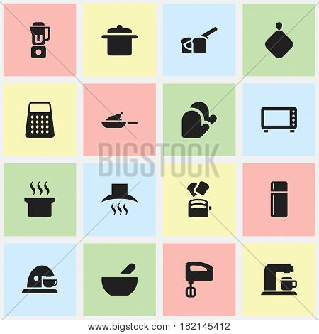 Set Of 16 Editable Cook Icons. Includes Symbols Such As Soup Pot, Agitator, Cup And More. Can Be Used For Web, Mobile, UI And Infographic Design.