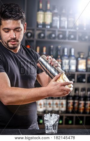 Barman Is Shaking Alcohol Cocktail