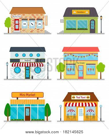 Bookstore seafood restaurant mini market ice cream shop barbershop fast food restaurant icons. Building facades set. EPS10 vector illustration in flat style.