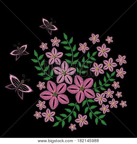 Embroidery stitches imitation with pink butterfly and flower with green leaf. Vector embroidery floral folk pattern with bird on the black background.