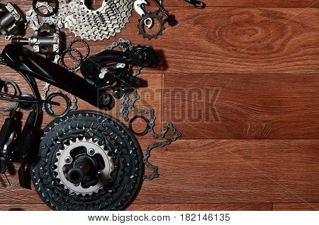 Many Different Metal Parts And Components Of The Running Gear Of A Sports Bike