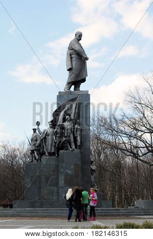 KHARKOV, UKRAINE - APRIL 21, 2011: It is a monument to the famous Ukrainian poet writer and painter Taras Shevchenko.