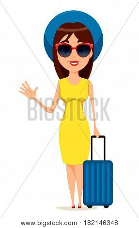 Young woman go travel standing with suitcase and waving hand. Beautiful girl in yellow dress sunglasses and summer hat going to warm countries. Vector illustration.