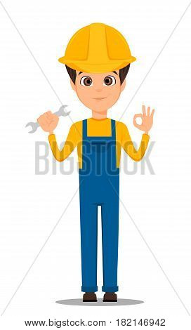Constructor worker. Handsome repair worker holding wrench and showing OK sign. Cute cartoon character repairer. Happy Labor day. Vector illustration.