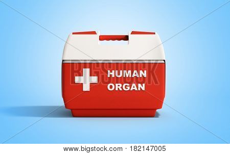 Closed Human Organ Refrigerator Box Red 3D Render On Blue Background