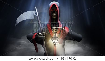 Death With A Scythe At The Cemetery 3D Render Background