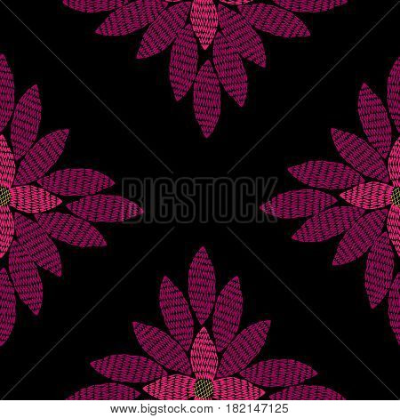 Seamless vector embroidery imitation pattern with big pink flower. Embroidery floral background with abstract flower for printing on fabric paper for scrapbook gift wrap.