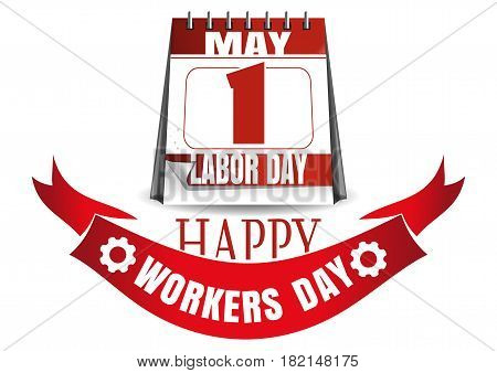 Labor Day calendar. May 1. Holiday date in calendar. Happy Workers Day. Vector illustration isolated on white background
