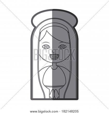 monochrome silhouette figure half body virgin maria cartoon with aureole vector illustration