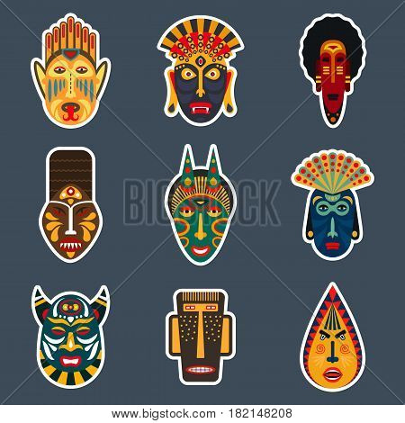 Set of ethnic masks stickers in flat style. Collection of african tribal mask icons.