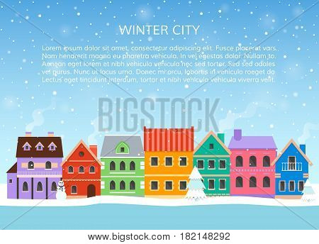 Winter cityscape with falling snow. Urban landscape. EPS10 vector illustration in flat style.