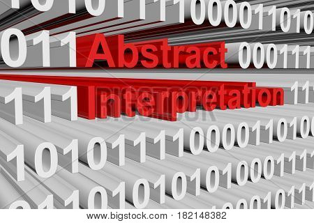 Abstract interpretation in the form of binary code, 3D illustration