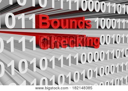 Bounds checking in the form of binary code, 3D illustration