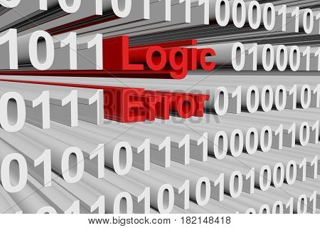 Logic error in the form of binary code, 3D illustration