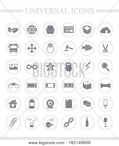 36 universal icons for web and mobile. Vector icon set.