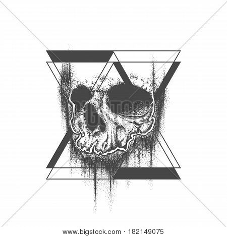 Abstract dot work grunge skull with triangle geometric elements. Template for tattoo or T-shirt print. Vector illustration.