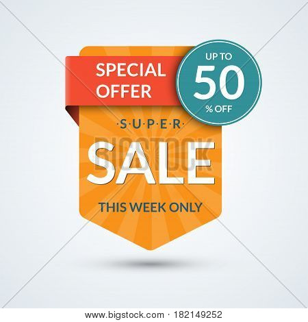 Super sale and special offer banner. Discount vector template. Up to 50 percent off badge or tag. Half price colorful sticker. Shopping background