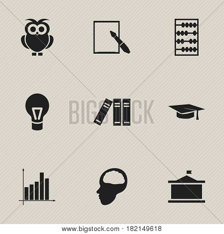Set Of 9 Editable Graduation Icons. Includes Symbols Such As Univercity, Arithmetic, Bookshelf And More. Can Be Used For Web, Mobile, UI And Infographic Design.