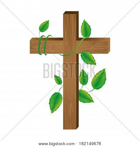 white background with wooden cross and creeper plant vector illustration