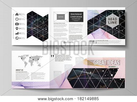 Set of business templates for tri fold square design brochures. Leaflet cover, abstract flat layout, easy editable vector. Colorful abstract infographic background in minimalist style made from lines, symbols, charts, diagrams and other elements.