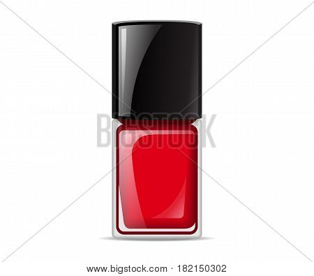 Red nail lacquers contained in bottle. Vector illustration.