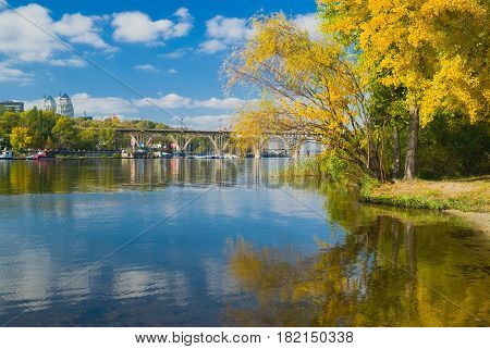 Fall comes to Dnepr river in Dnepropetrovsk city Ukraine.