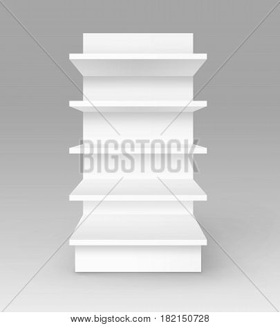 Vector White Blank Empty Exhibition Trade Stand Shop Rack with Shelves Storefront Front View Isolated on Background