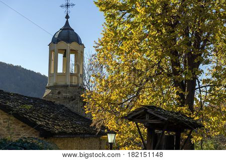 BOZHENTSI, BULGARIA - OCTOBER 29 2016:   Church of Saint Prophet Elijah in village of Bozhentsi, Gabrovo region, Bulgaria