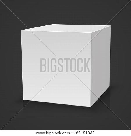 Blank box on black background with reflection, Illustration Isolated On White Background. Mock Up Template Ready For Your Design, White box, template design element, Vector