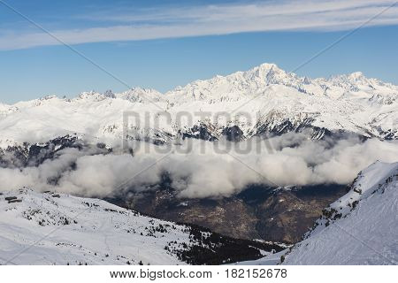 Panoramic View Down An Alpine Mountain Valley