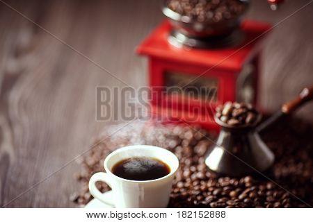 Coffee. Turkish coffee. Armenian Turkish coffee. Cezve and cup of coffee. Traditional serving coffee.