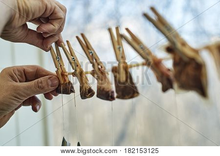 Male hands are hanging used tea bags as washed clothes for drying on the clothesline with clothes pegs