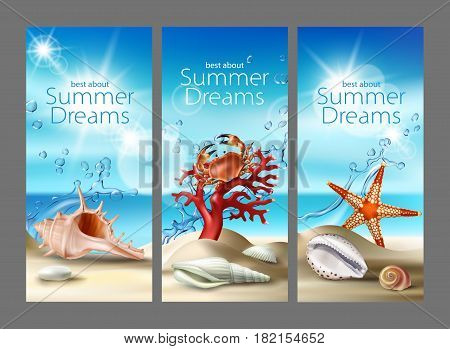 Three vector illustration of a summer sandy beach with seashells, pebbles, starfish, crab and coral against the turquoise sky and the sea. An excellent advertising posters for a travel agency