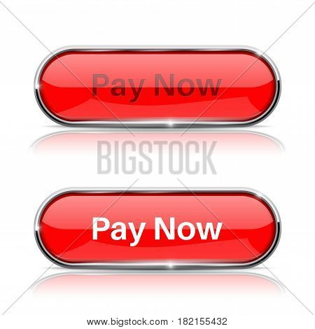 Pay now button. Shiny red oval web icons, normal and active. Vector 3d illustration isolated on white background