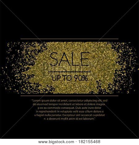 Golden Particles  Sale Banner On Black  Vector Eps 10
