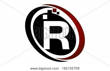 This vector describe about Technology Logo Motion Synergy Initial R
