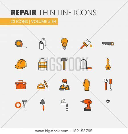 House Repair Renovation Linear Thin Line Vector Icons Set with Repairman and Tools