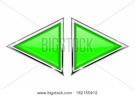 Green triangle buttons with metal frame. Vector 3d illustration isolated on white background