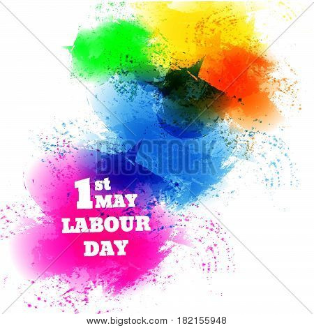 Labour Day  Water Color Banner Vector Eps 10