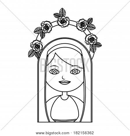 monochrome contour of half body beautiful virgin with crown of roses and mantle vector illustration
