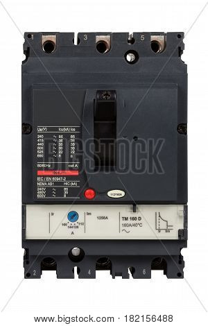 Main circuit breaker 3 phase isolated on white background.(With clipping path.)