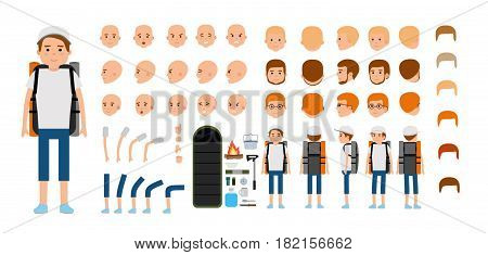 Man character creation set. Young tourist. Traveller. Icons with different types of faces and hair style, emotions, front, rear side view with tourist facilities. Vector flat illustration
