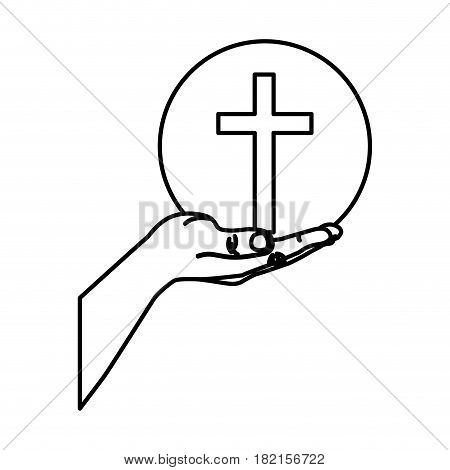 black silhouette of hand extended with sphere with cross symbol vector illustration