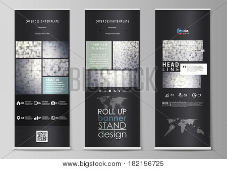 Set of roll up banner stands, flat design templates, abstract geometric style, modern business concept, corporate vertical vector flyers, flag layouts. Pattern made from squares, gray background in geometrical style. Simple texture.