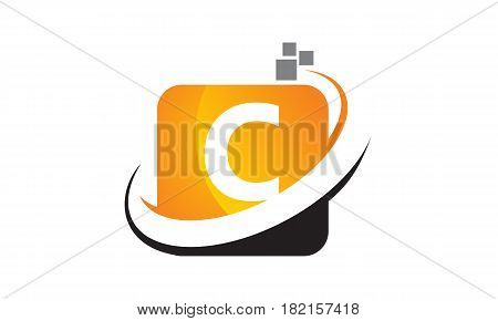 This vector describe about Technology Motion Synergy Letter C