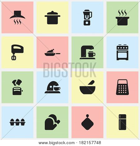 Set Of 16 Editable Cook Icons. Includes Symbols Such As Cookware, Agitator, Kitchen Glove And More. Can Be Used For Web, Mobile, UI And Infographic Design.