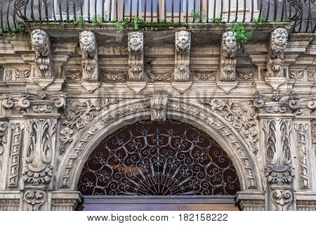 Close up on Palace of the Seminary of the Clerics in Catania Sicily Island of Italy