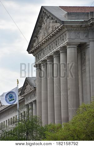 WASHINGTON, DC - APR 15: Environmental Protection Agency in Washington, DC, as seen on April 15, 2017. It is an agency of the Federal government created to protect human health and the environment.