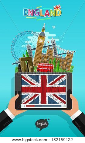 Concept of travel or studying English. Male hands holding a tablet with landmarks and hand drawn english flag on the tablet screen. Flat design, vector illustration