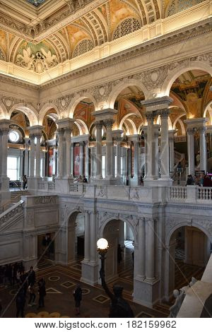 WASHINGTON, DC - APR 14: Library of Congress in Washington, DC, as seen on April 14, 2017. It is the research library that officially serves the United States Congress and is the de facto national library of the United States. It is the oldest federal cul